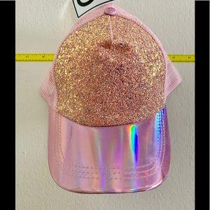 NWT Pink Sparkle Holo Baseball Cap